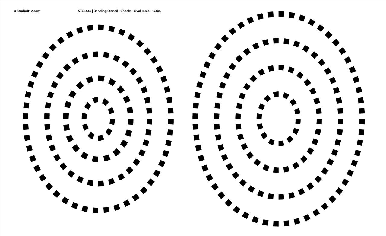"""Banding Stencil Checks - Oval Innie 1/4"""""""