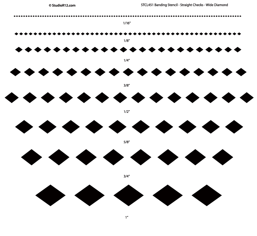 Banding Stencil - Straight Checks - Wide Diamond