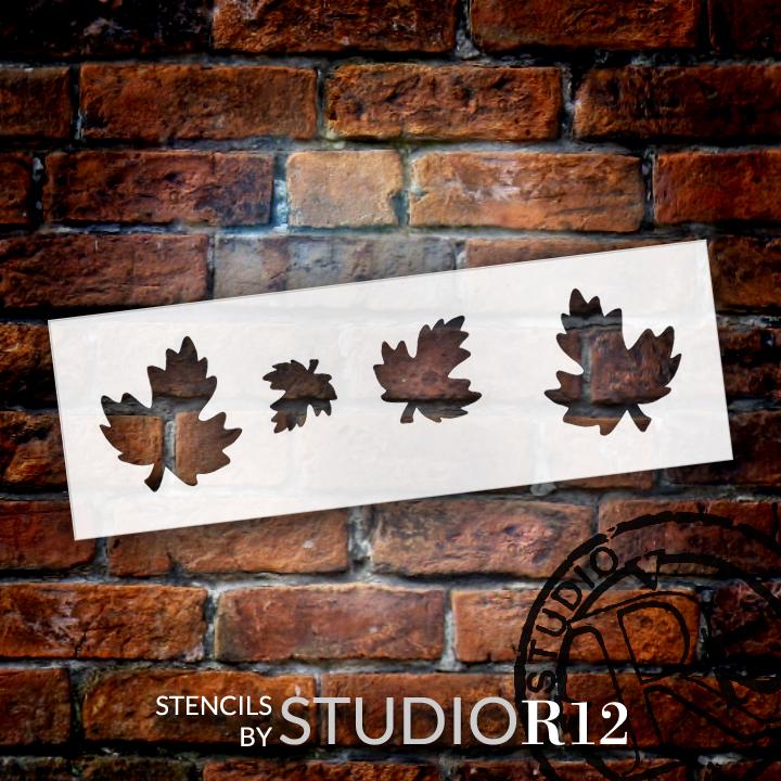 "Swirly Leaves Plaque Leaf Stencil - 9"" x 3"" - STCL463 - by StudioR12"