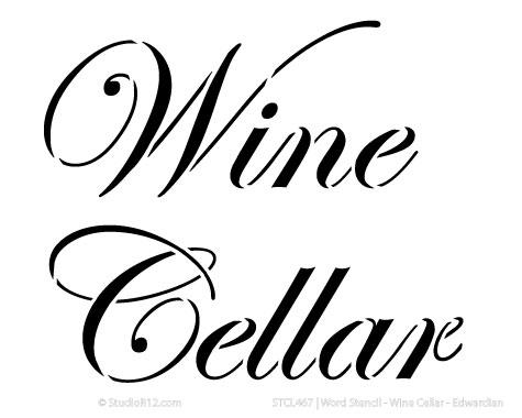 "Word Stencil - Wine Cellar - Edwardian - 7 1/2"" x 6"""