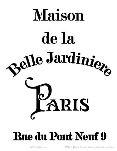 Word Stencil - Maison de la Bell Jardiniere