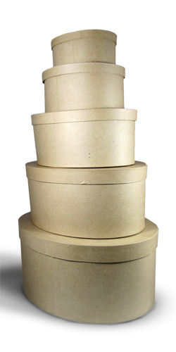 Stacking Oval Boxes - Paper Mache Set