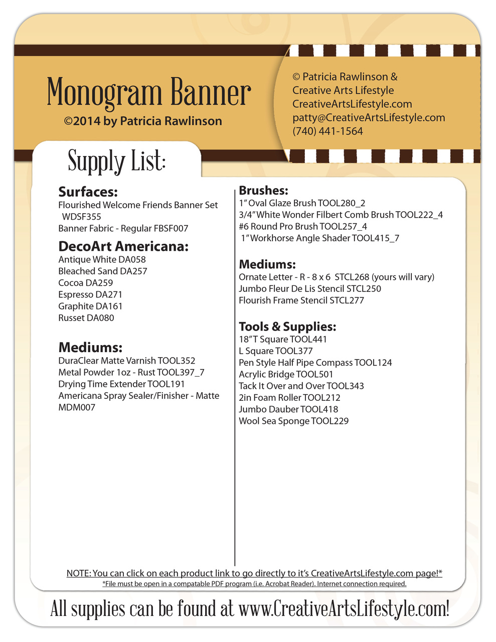 Monogram Banner Pattern Packet - Patricia Rawlinson