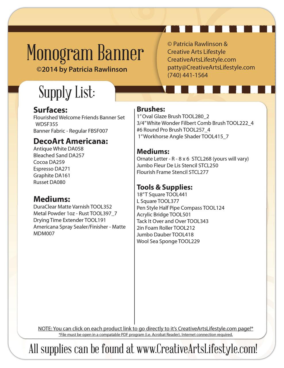 Monogram Banner DVD & Pattern Packet - Patricia Rawlinson
