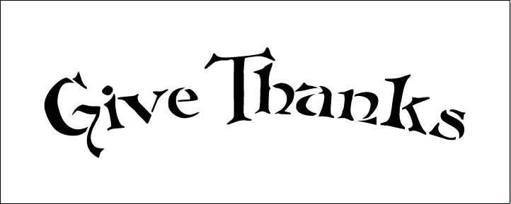 Word Stencil - Give Thanks - FolkArt Arched