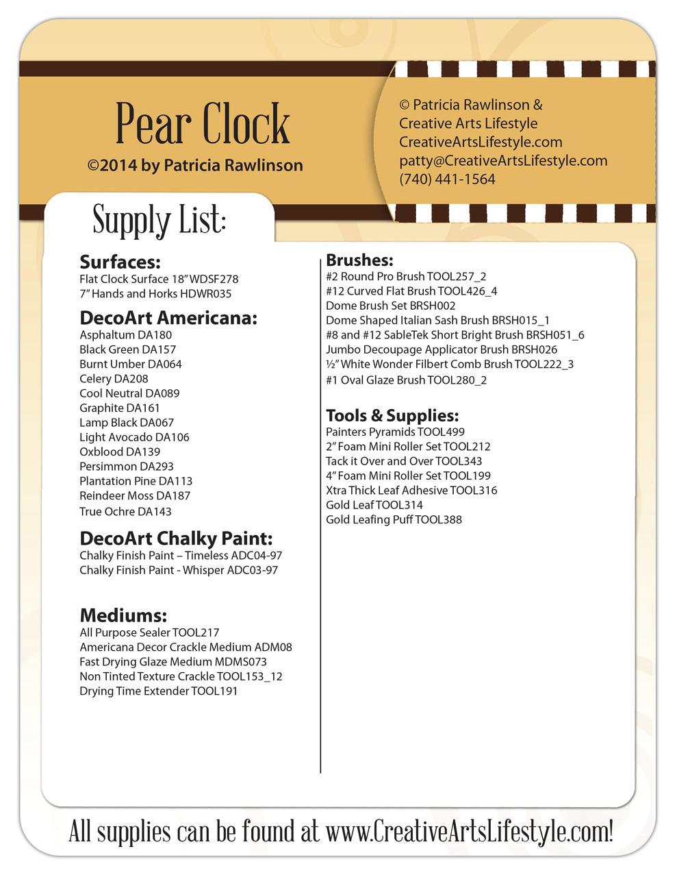 Pear Clock Pattern Packet - Patricia Rawlinson
