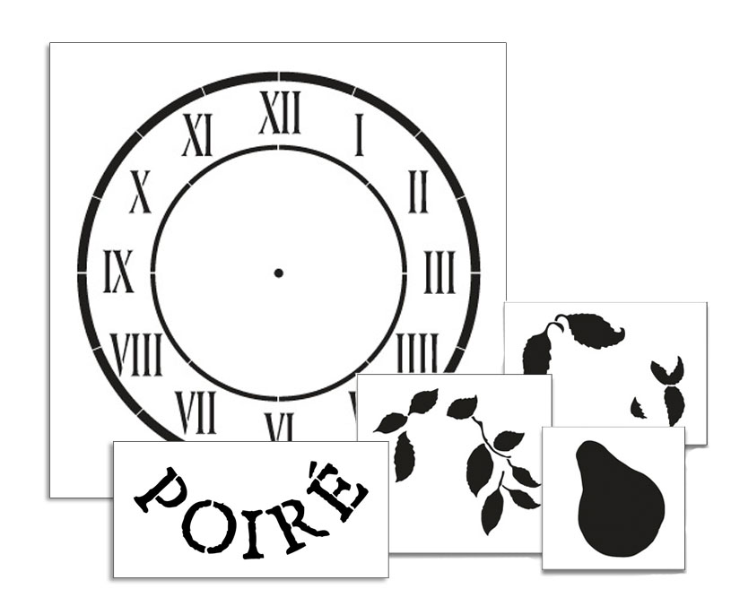 Pear Clock Stencil Set - 18""