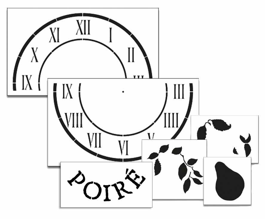 Pear Clock Stencil Set - 24""