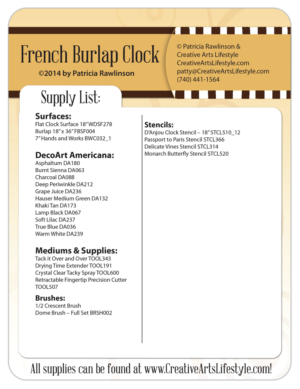 French Burlap Clock Pattern Packet - Patricia Rawlinson