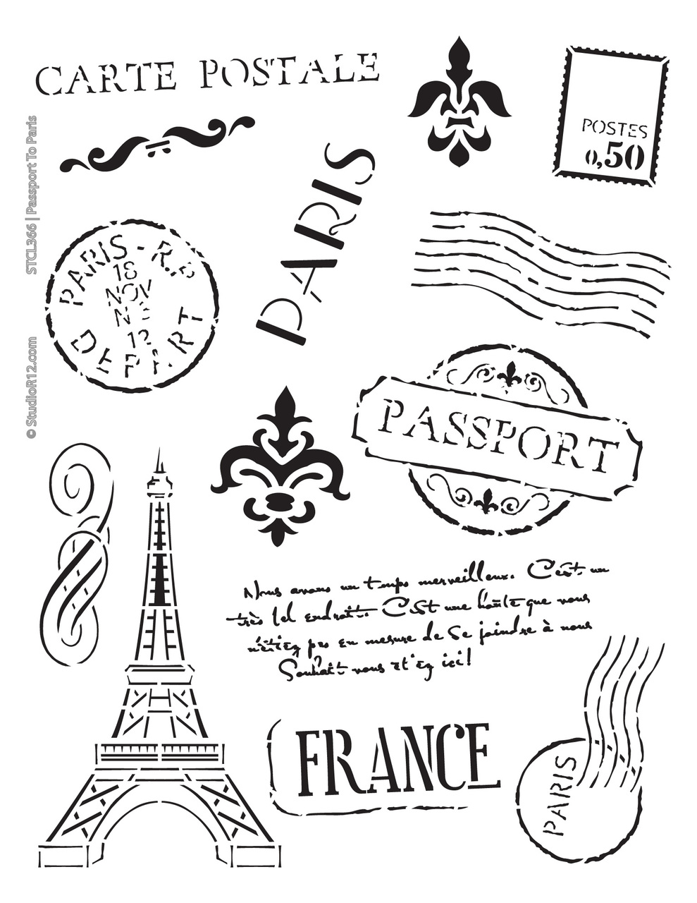 "Passport to Paris Stencil -  Art Stencil - 8 1/2"" x 11"""