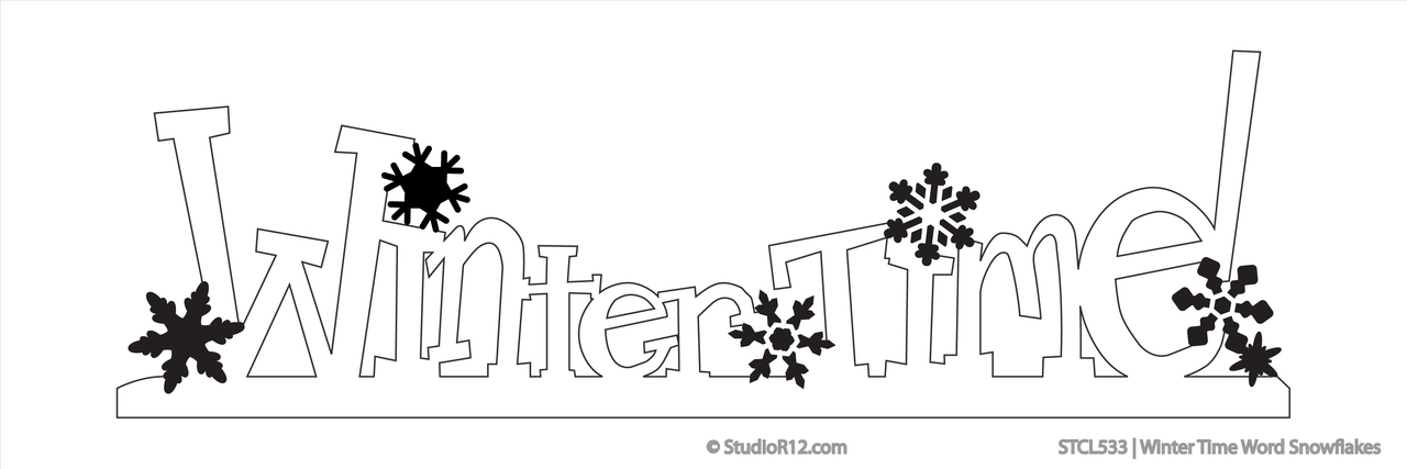 Winter Time Word Snowflake Stencil