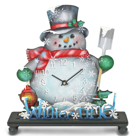 Winter Time Snowman Standing Clock  DVD & Pattern Packet - Patricia Rawlinson
