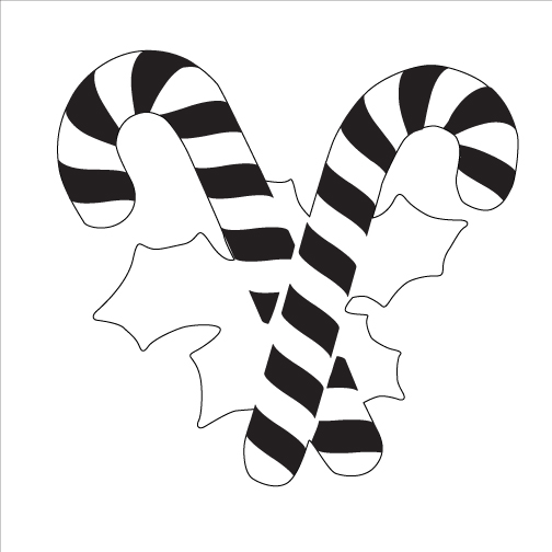 Candy Canes and Holly Ornament Stencil