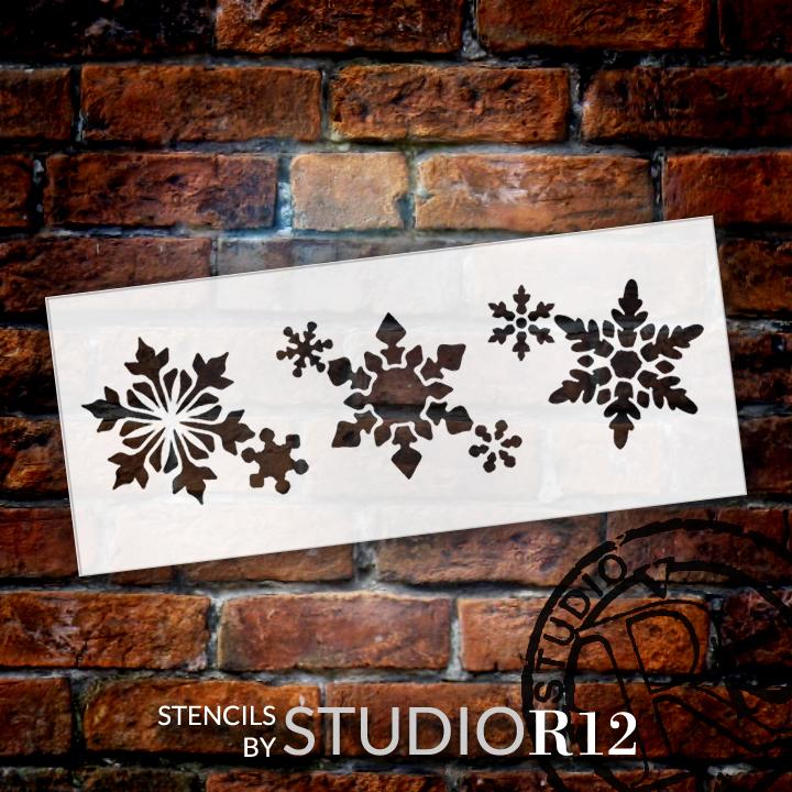 "Snowflake Box Stencil - 6"" x 2.5"""