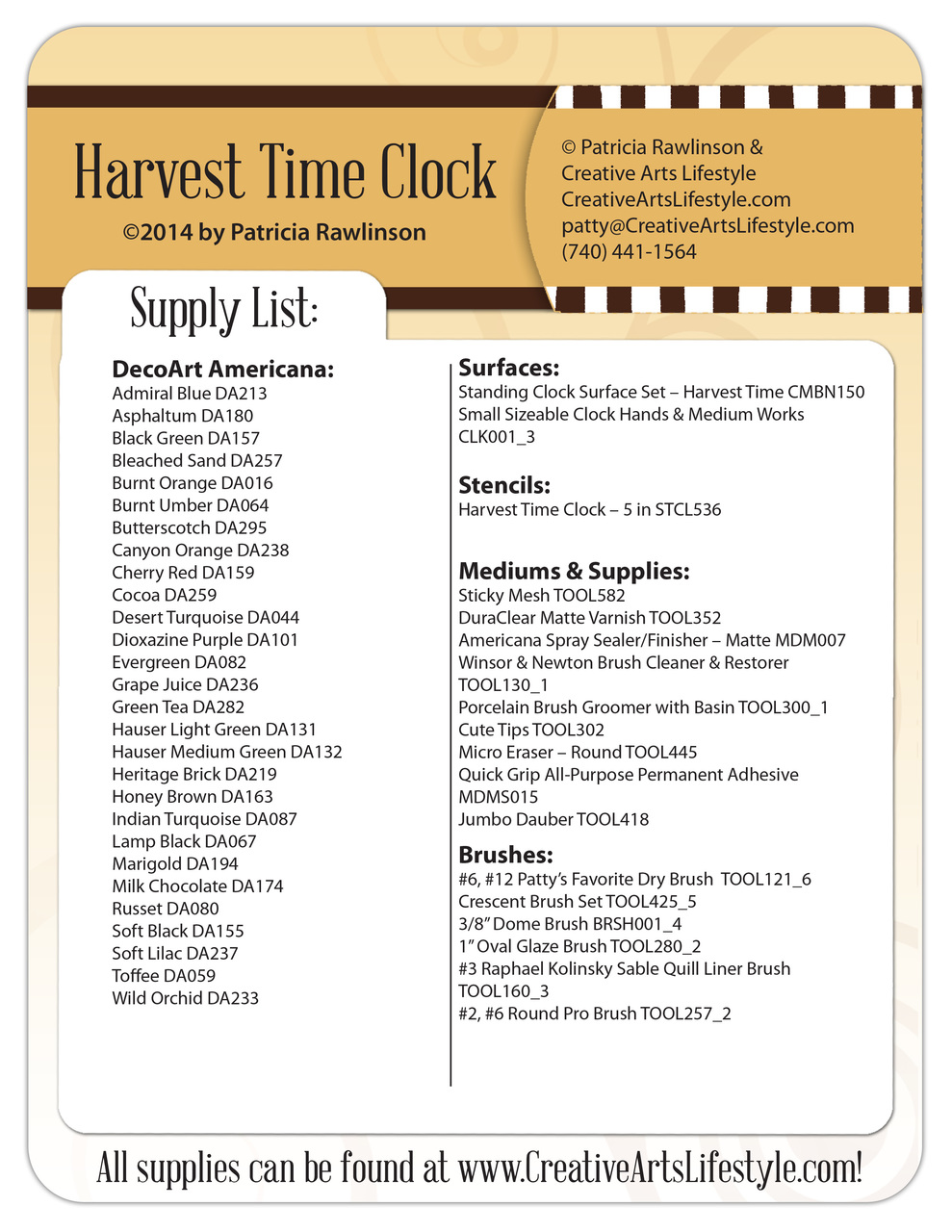 Harvest Time Standing Clock Pattern Packet - Patricia Rawlinson