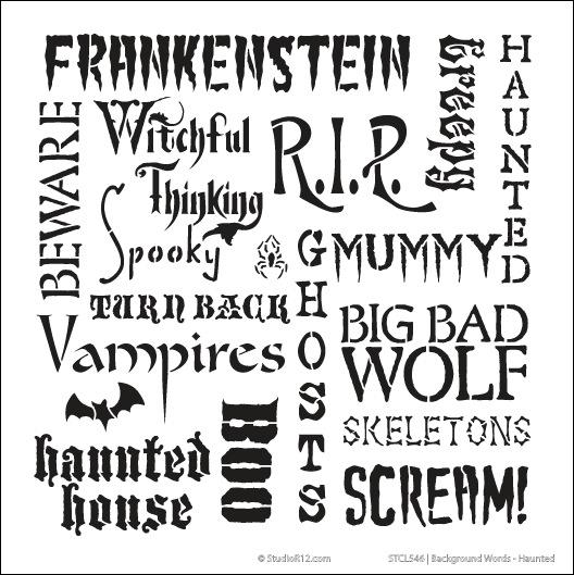 "Background Words Stencil - Haunted - 11"" x 11"""
