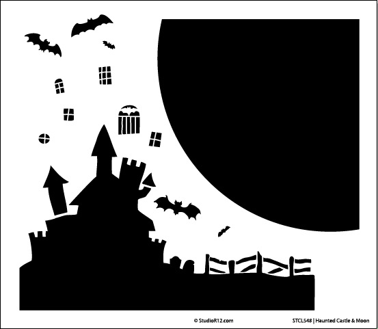 "Haunted Castle & Moon Stencil - 11.5"" x 10"""