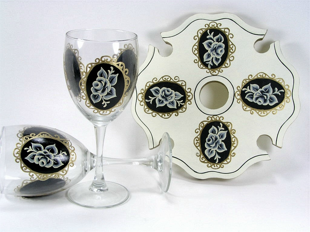 Cameo Rose Glasses and Caddy - E-Packet - Jeanne Bobish