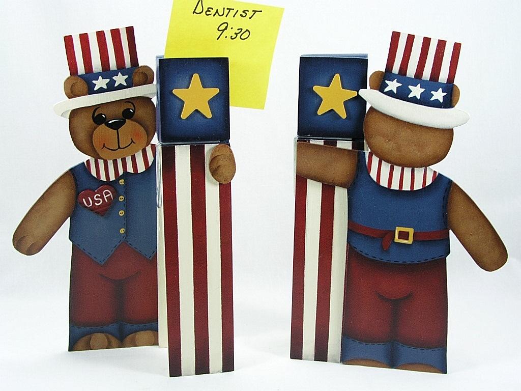 Uncle Sam Teddy Bear Clothespin - E-Packet - Jeanne Bobish