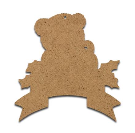 Wood Ornament - Teddy Bear with Banner