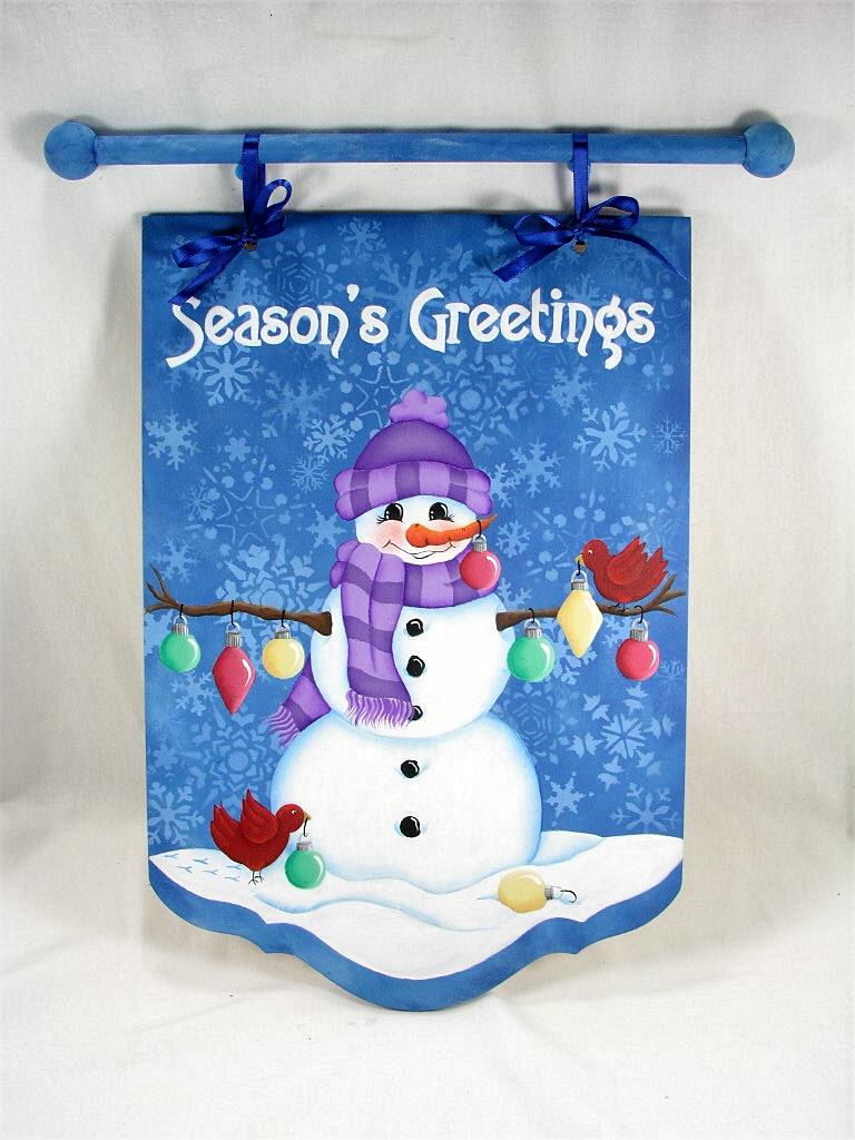 Seasons Greetings Snowman Banner - E-Packet - Jeanne Bobish