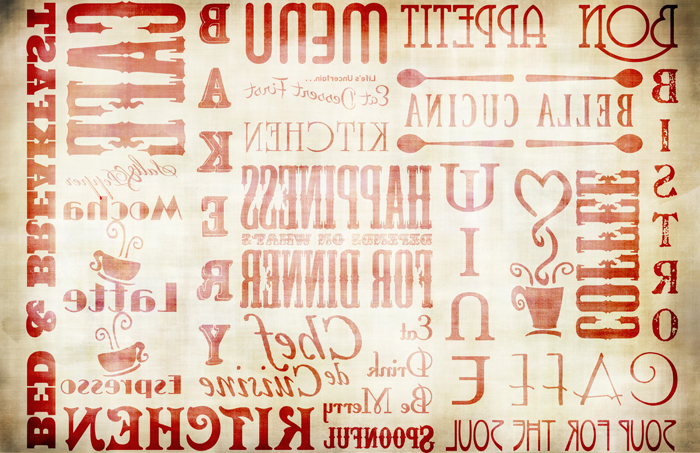 """Chef Words Transfer Paper - Antique Red - 16"""" x 10.5"""""""