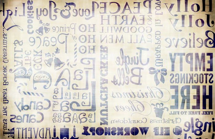 "Christmas Words Transfer Paper -  Antique Blue - 16"" x 10.5"""