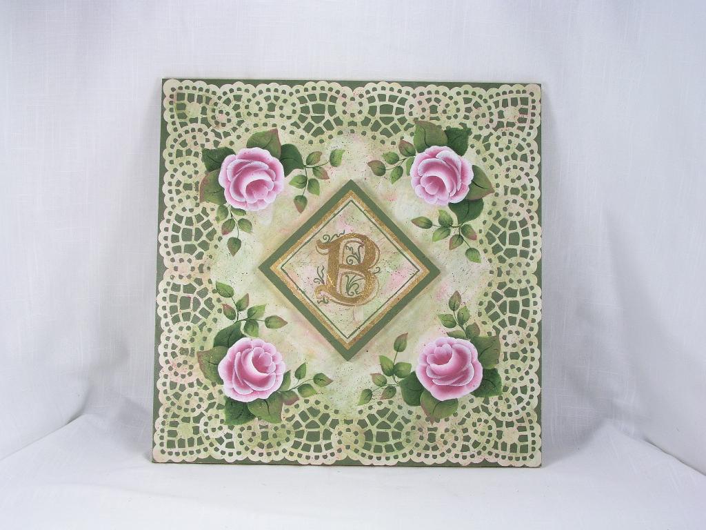 Monogrammed Rose Plaque - E-Packet - Jeanne Bobish