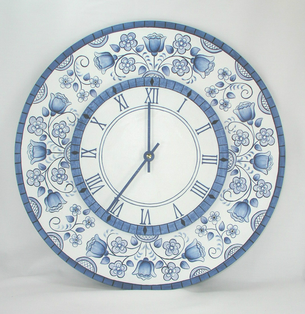 Blue Delft Floral Wall Clock - E-Packet - Jeanne Bobish