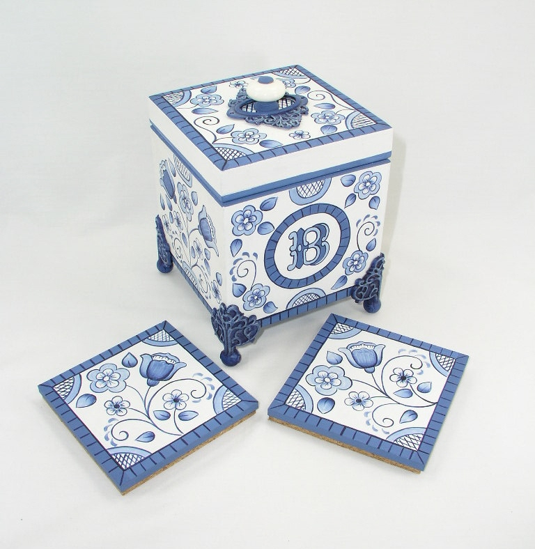 Blue Delft Coaster Box - E-Packet - Jeanne Bobish