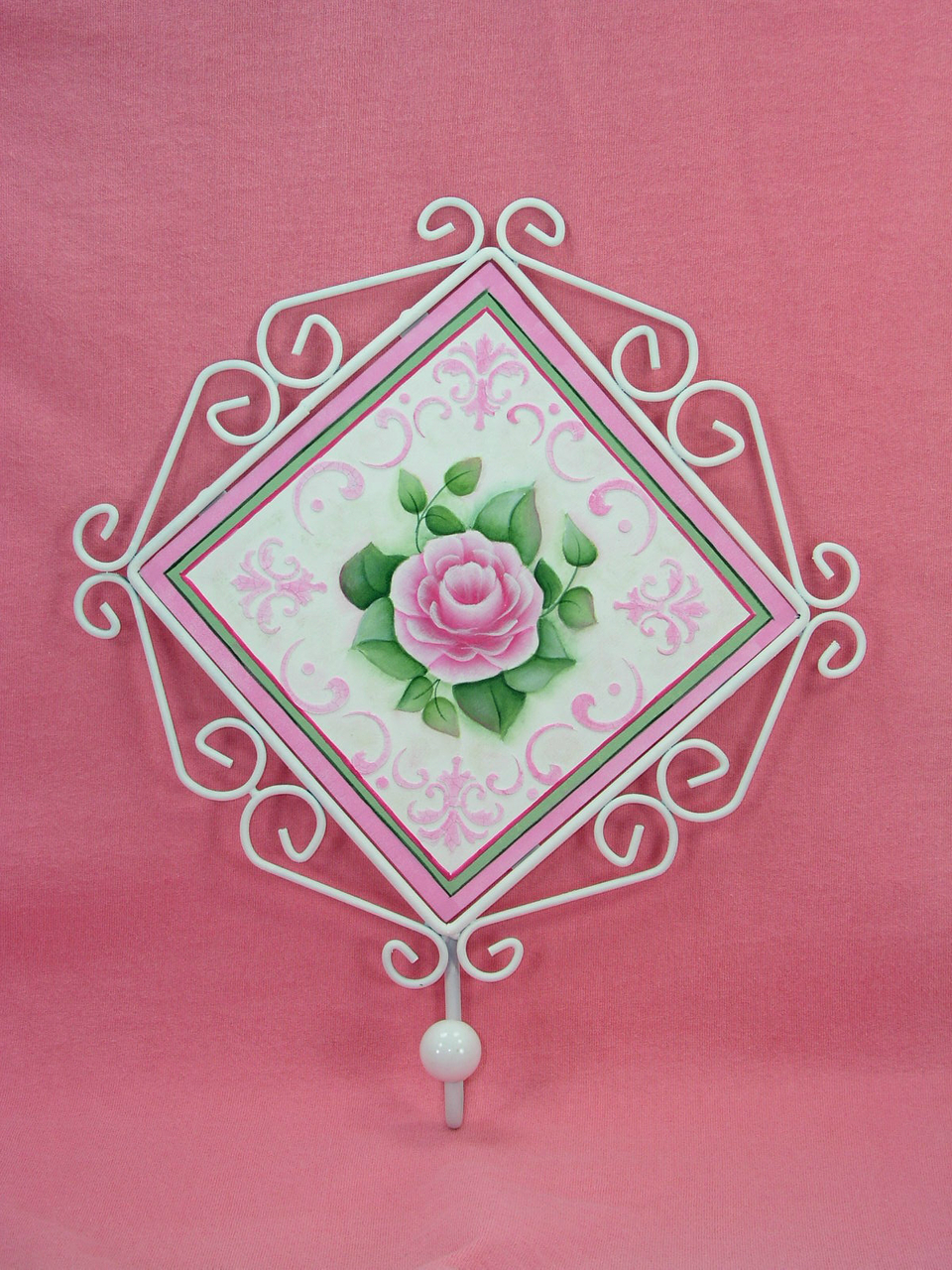 Shabby Rose Metal Framed Plaque with Hook - E-Packet - Jeanne Bobish