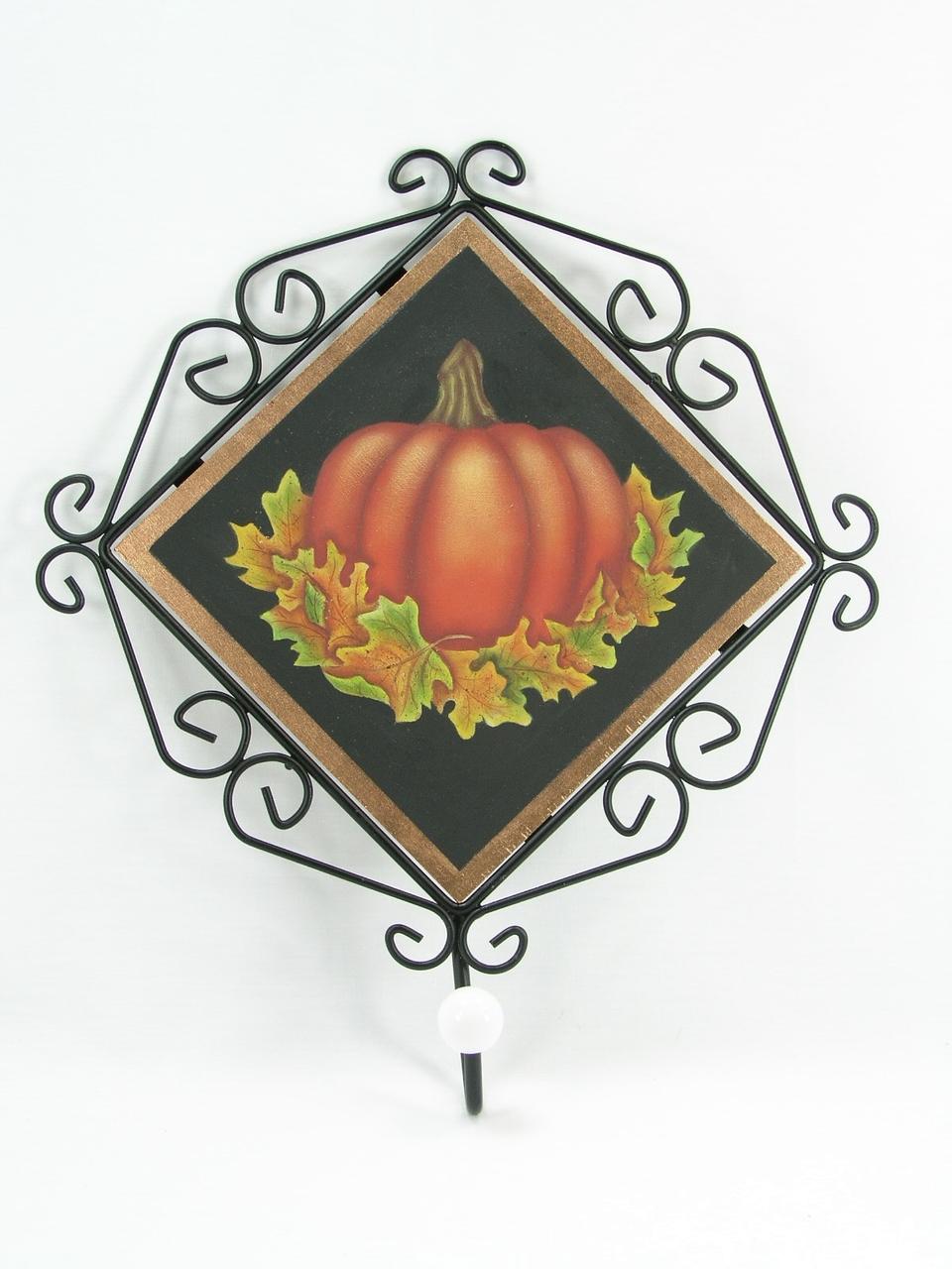 Pumpkins & Leaves Metal Framed Plaque with Hook - E-Packet - Jeanne Bobish