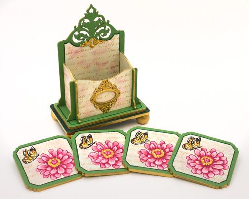 Elegant Zinnia Coaster Box and Coasters - E-Packet - Jeanne Bobish