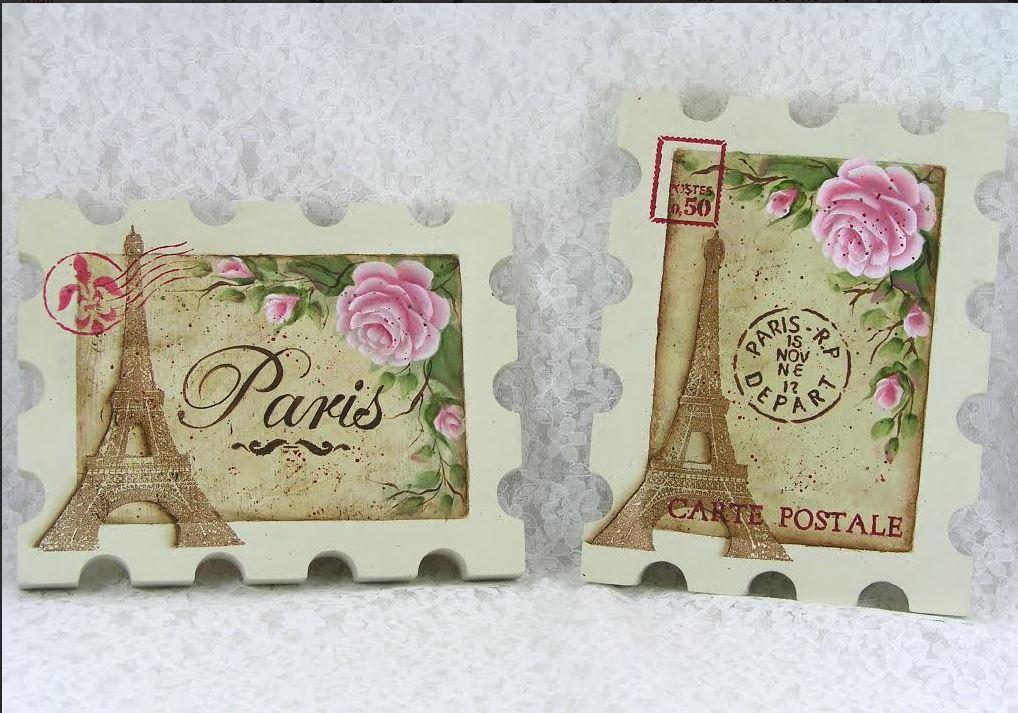 Paris Postage Plaque - E-Packet - Jeanne Bobish