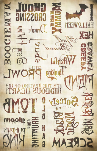 "Haunted Words Image Transfer Paper - Antique Caramel - 16"" x 10.5"""