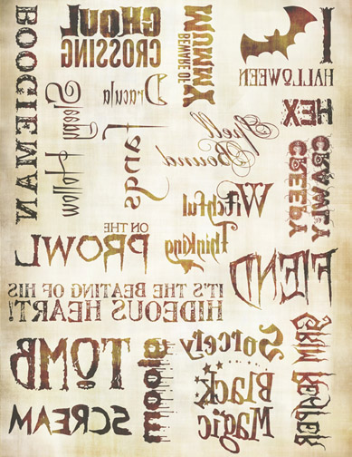 "Haunted Words Transfer Paper - Antique Caramel - 8"" x 10.5"""