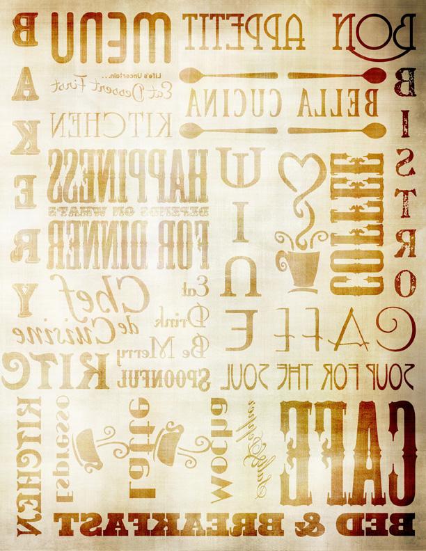 "Chef Words Transfer Paper - Antique Caramel - 8"" x 10.5"""