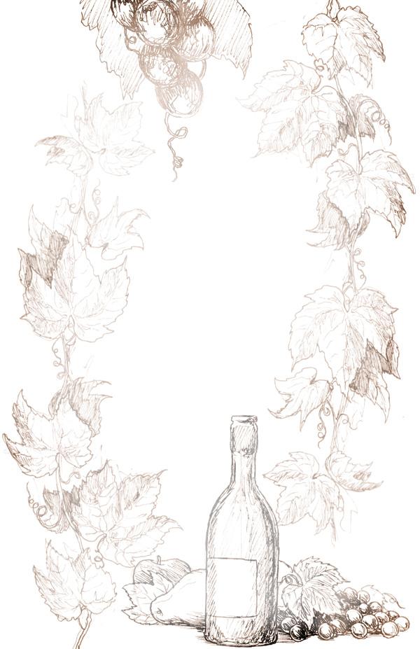 """Wine Bottle Border Transfer Paper- B & W 10"""" x 16"""""""