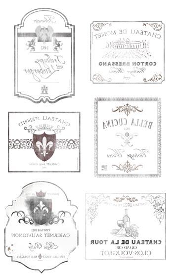 """Wine Labels Transfer Paper -  B & W 10"""" x 16"""""""