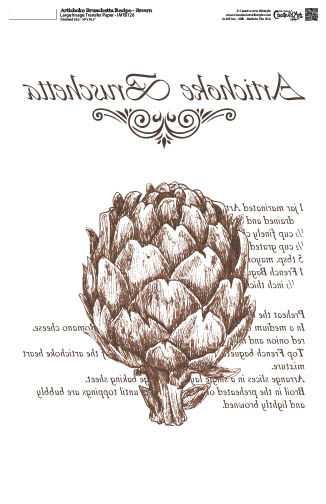 Artichoke Bruschetta Recipe Brown-10x16- Image Transfer