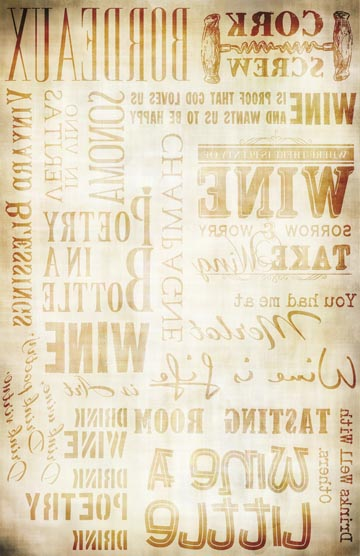 Wine Words Transfer Paper - Antique Caramel 10x16