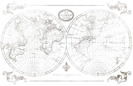 World Map Transfer Paper - B & W 10x16