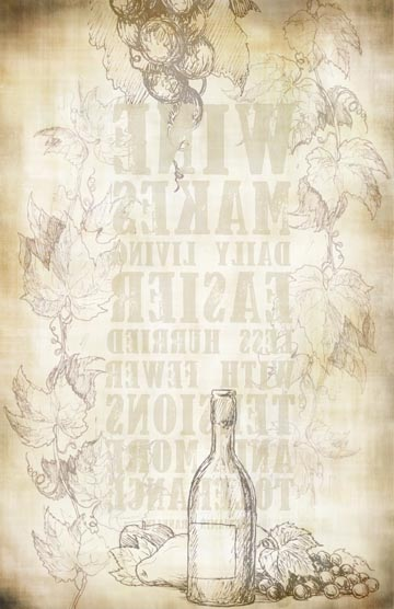 Wine Bottle Background Transfer Paper -  Antique 10x16