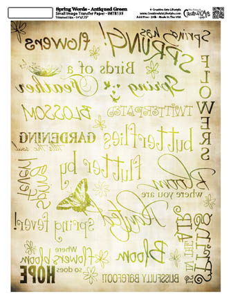 Spring Words - Antiqued Green - 8x10 Image Transfer