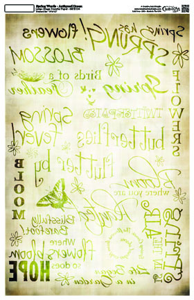 Spring Words - Antiqued Green- 10 x 16 Image Transfer