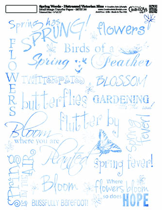 Spring Words -Distressed Victorian Blue- 8x10 Image Transfer