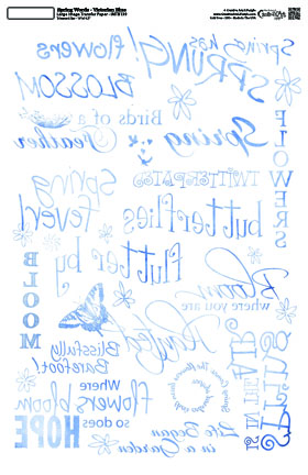 Spring Words - Victorian Blue  - 10 x 16 Image Transfer
