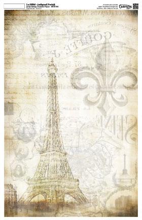 La Eiffel Antiqued -Antiqued Portait  16x10 -Image Transfer