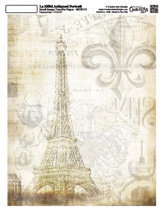 La Eiffel Antiqued -Antiqued Portrait  8x10 -Image Transfer
