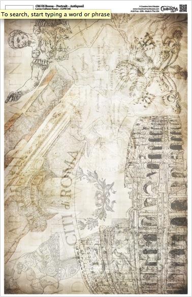 """Citi di Roma Collage Paper - Landscape - Antique - 16"""" x 10.5"""""""